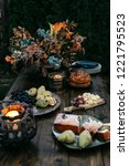 wooden table with delicious... | Shutterstock . vector #1221795523