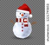 3d snowman on transparent...   Shutterstock .eps vector #1221795853