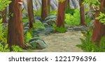 cartoon summer scene with path... | Shutterstock . vector #1221796396