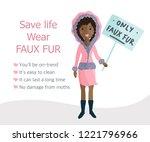 stop wearing fur. woman voting...   Shutterstock .eps vector #1221796966