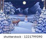 winter night forest landscape... | Shutterstock .eps vector #1221799390