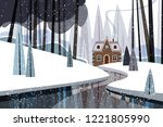 winter landscape with river and ... | Shutterstock .eps vector #1221805990