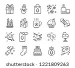 set of chistmas line icons ... | Shutterstock .eps vector #1221809263