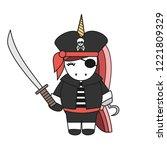 cute cartoon pirate unicorn...   Shutterstock .eps vector #1221809329