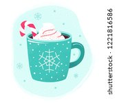 winter cup of hot chocolate or... | Shutterstock .eps vector #1221816586