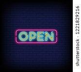 open  neon text vector and a... | Shutterstock .eps vector #1221829216