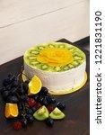 juicy fruit cottage cheese cake ... | Shutterstock . vector #1221831190