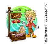 cartoon smiling blonde boy... | Shutterstock .eps vector #1221833440