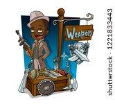 cartoon gangster with tommy gun ... | Shutterstock .eps vector #1221833443