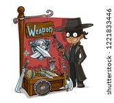 cartoon bandit with tommy gun... | Shutterstock .eps vector #1221833446