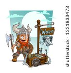 cartoon redhead viking warrior... | Shutterstock .eps vector #1221833473