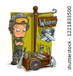 cartoon blond soldier in modern ... | Shutterstock .eps vector #1221833500