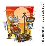 cartoon redhead viking warrior... | Shutterstock .eps vector #1221833506