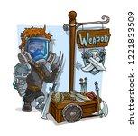 cartoon cyborg supersoldier in... | Shutterstock .eps vector #1221833509