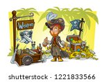 cartoon pirate character with... | Shutterstock .eps vector #1221833566