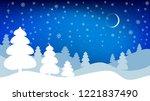 night winter landscape. vector... | Shutterstock .eps vector #1221837490