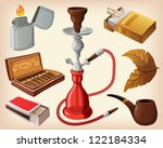 set of traditional smoking... | Shutterstock .eps vector #122184334