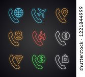 phone services neon light icons ... | Shutterstock .eps vector #1221844999