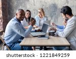 full concentration at work.... | Shutterstock . vector #1221849259