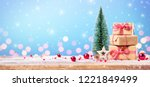 christmas gift with ornament on ... | Shutterstock . vector #1221849499