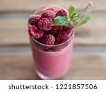 pink smoothie in glass... | Shutterstock . vector #1221857506