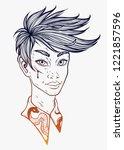 guy in manga style. vector...   Shutterstock .eps vector #1221857596