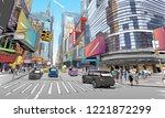 times square. new york. usa.... | Shutterstock .eps vector #1221872299