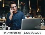businessman sitting in a... | Shutterstock . vector #1221901279