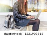 business woman working in the... | Shutterstock . vector #1221903916