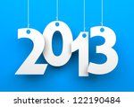 white tags with 2013 on blue... | Shutterstock . vector #122190484