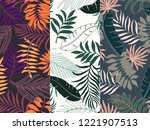 set of three tropical... | Shutterstock .eps vector #1221907513