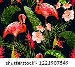 seamless vector floral summer... | Shutterstock .eps vector #1221907549