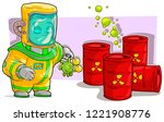 cartoon scientist in protective ... | Shutterstock .eps vector #1221908776