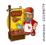 cartoon bearded butcher with... | Shutterstock .eps vector #1221908779