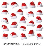 collection of santa's red hat... | Shutterstock . vector #1221911440