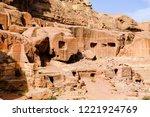 petra  jordan. tombs and... | Shutterstock . vector #1221924769