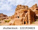 petra  jordan. tombs and... | Shutterstock . vector #1221924823