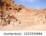 petra  jordan. tombs and... | Shutterstock . vector #1221924886