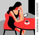 girl with phone. female... | Shutterstock .eps vector #1221941059