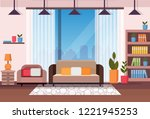 living room home interior... | Shutterstock .eps vector #1221945253