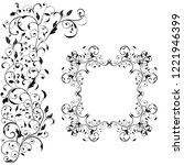 floral decorative frame with... | Shutterstock . vector #1221946399