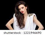 brunette asian girl with long...   Shutterstock . vector #1221946690
