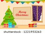 christmas tree interior... | Shutterstock .eps vector #1221953263