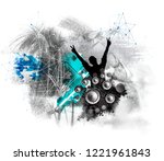 party background with dancing... | Shutterstock . vector #1221961843