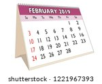 2019 february month in a desk... | Shutterstock .eps vector #1221967393