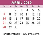 2019 calendar april month.... | Shutterstock .eps vector #1221967396