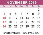 2019 calendar november month.... | Shutterstock .eps vector #1221967423