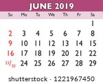 2019 calendar june month.... | Shutterstock .eps vector #1221967450