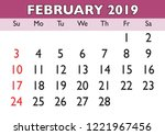 2019 calendar february month.... | Shutterstock .eps vector #1221967456