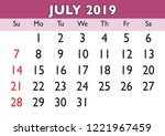 2019 calendar july month.... | Shutterstock .eps vector #1221967459